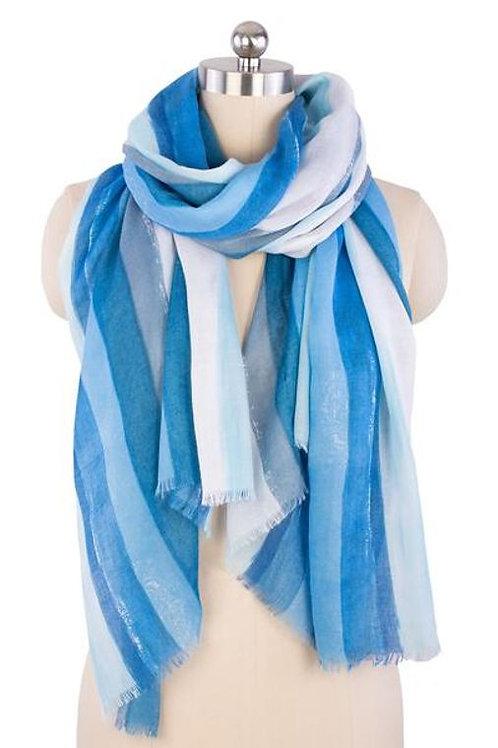 Watercolor Stripe Scarf- Blue