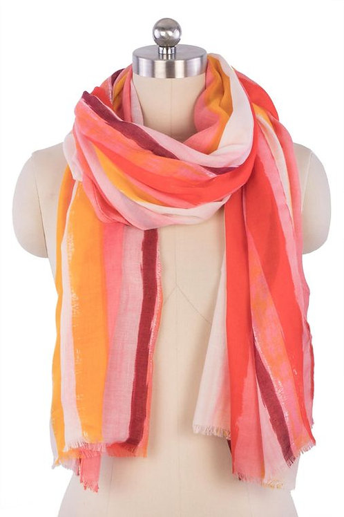 Watercolor Stripe Scarf- Red