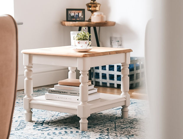 Upcycled pine coffee table in beige