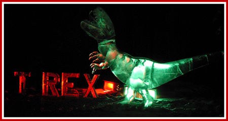 T-rex ice carving