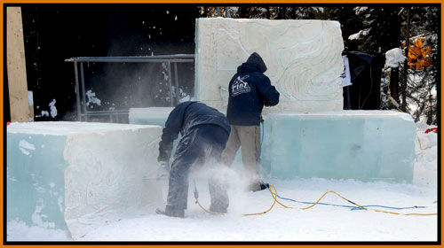men chipping out a template for their ice carving