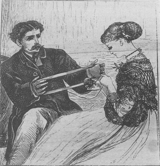 Sketch of couple with yarn