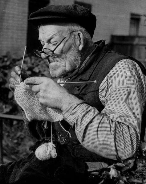 A Man Knitting