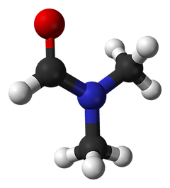 Ball-and-stick model of the dimethylformamide molecule