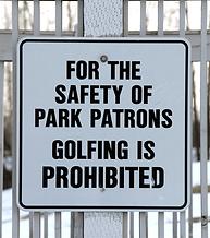 No Golfing sign