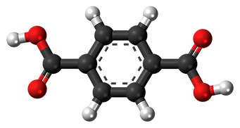 Ball-and-stick model of the terephthalic acid molecule