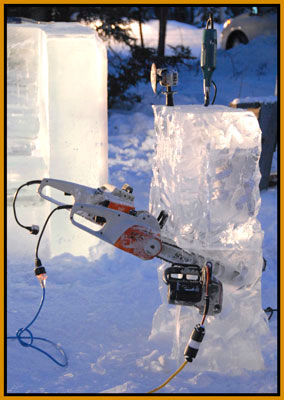 Chainsaw in block of ice