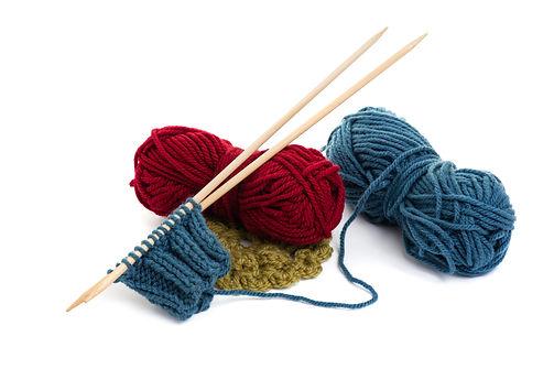 knitting wool and knitting needles, knit