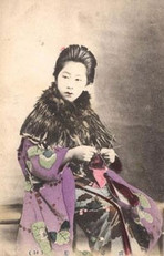 Portrait of Japanese Woman Knitting