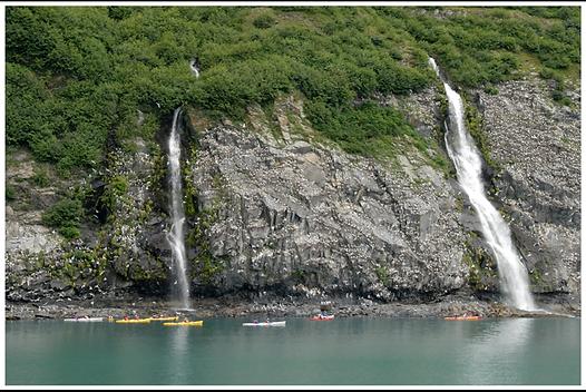 kayaks off the coast of Alaska
