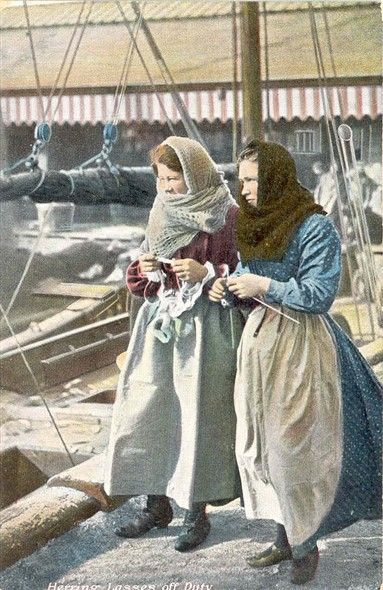 Two English women knitting for sailors
