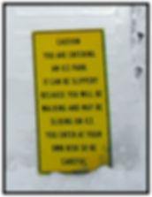 Ice park entrance warning