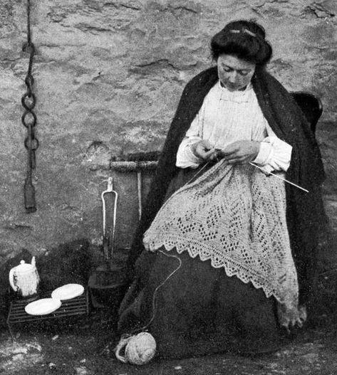 Scottish Woman Knitting