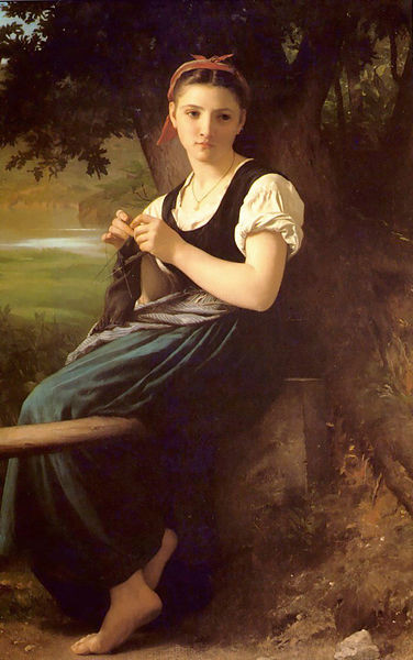 """""""The Knitting Woman"""" painting by  William-Adolphe Bouguereau"""