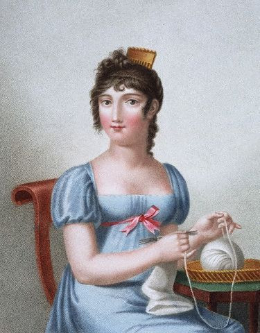 A Parisian painting of a woman knitting