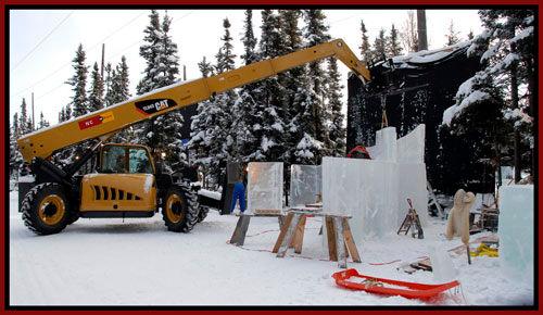 crane lifting huge ice block