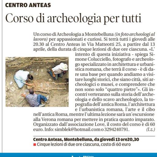 Oggi sulla Tribuna di Treviso, corso di archeologia a Montebelluna