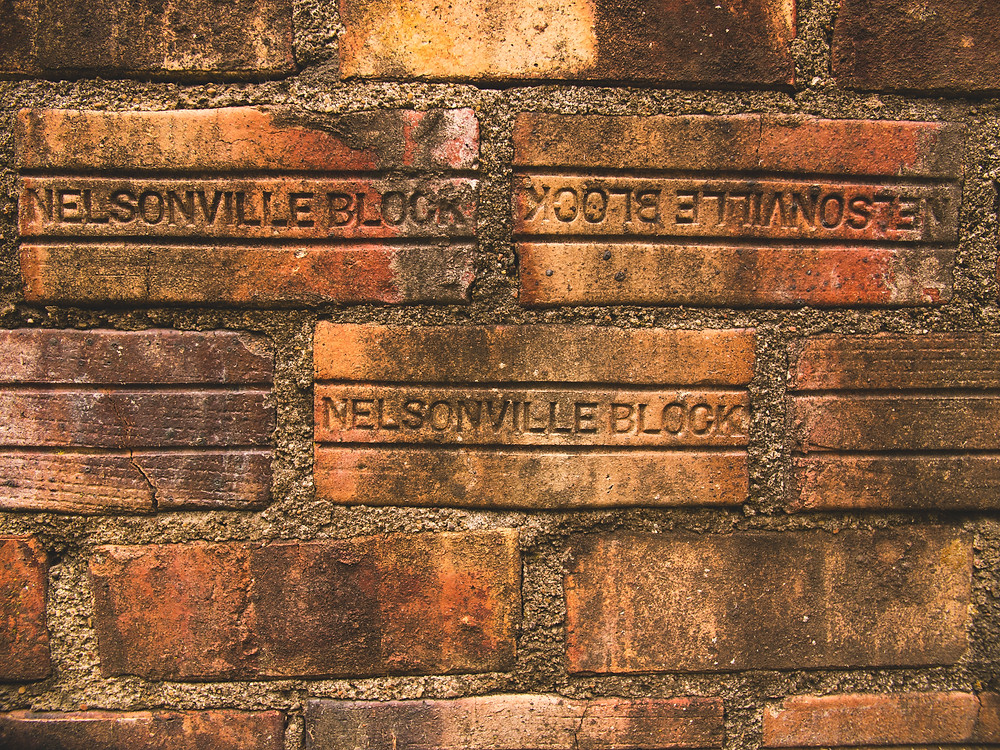 Bricks lining the walls of the (closed) Nelsonville Brick Co.