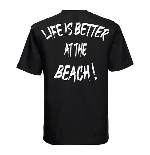 """T-shirt """"Life Is Better At The Beach!"""" Noir"""