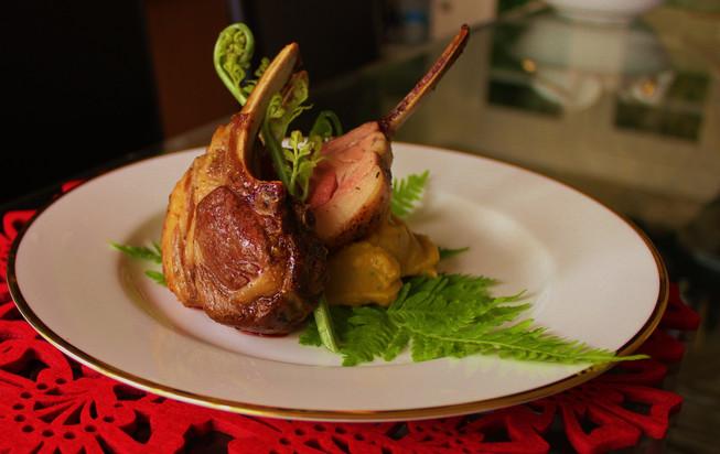 Rack of lamb with kumara & rosemary purée