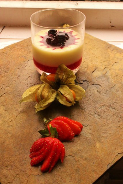 White chocolate & lavender dessert pot with berry coulis