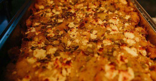 kumara smash with feta, roasted shallot