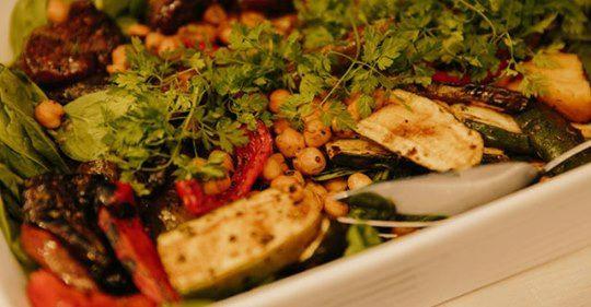 Roast veg & chickpea salad