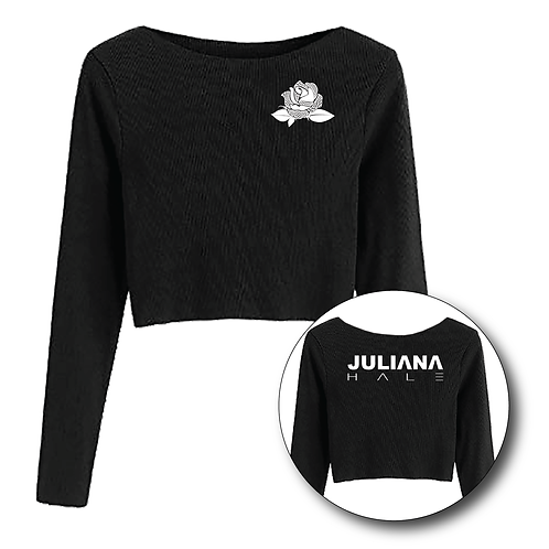 Black Long Sleeve Crop Top