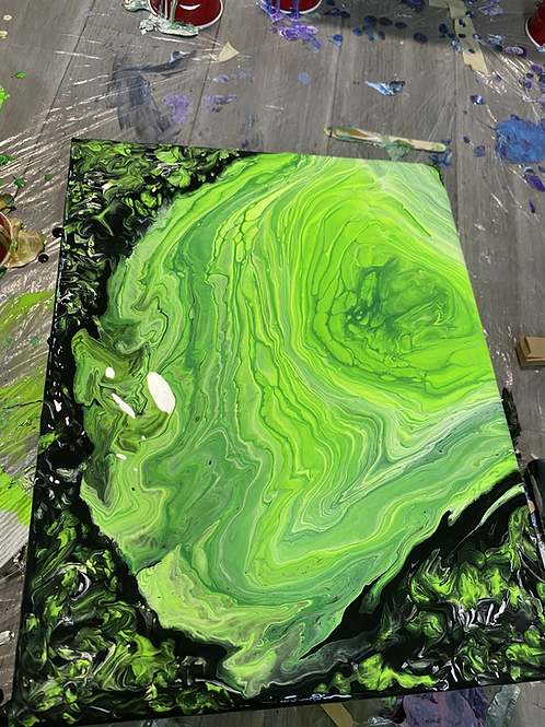 Rick and Morty Inspired Acrylic Pour Painting