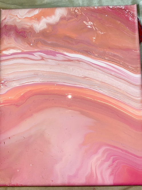 Pink Acrylic Pour Painting