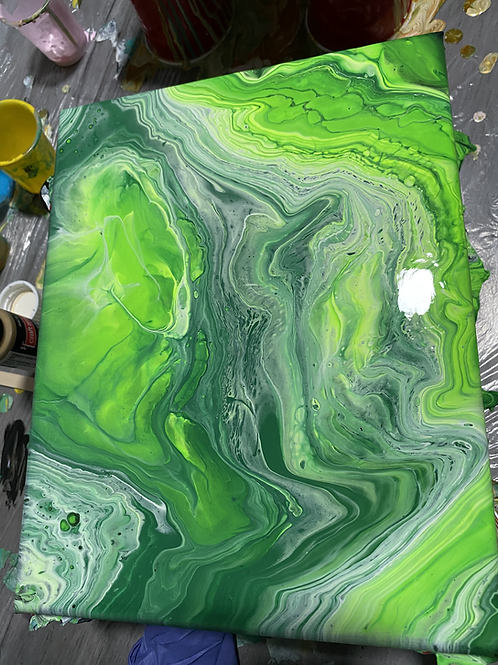Green Acrylic Pour Painting