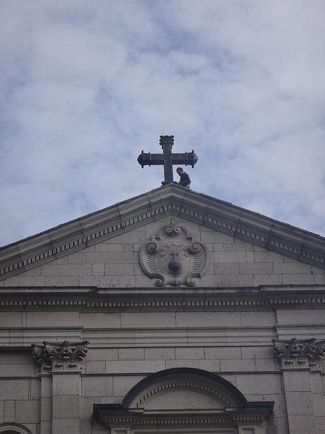 Accord de pierre-Yann Dumas-Monastère de Sélignac-cordiste-travaux en hauteur-monument historique-patrimoine-rénovation mur pignon