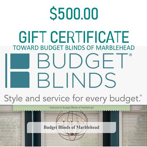 $500.00 Toward Custom Window Treatments