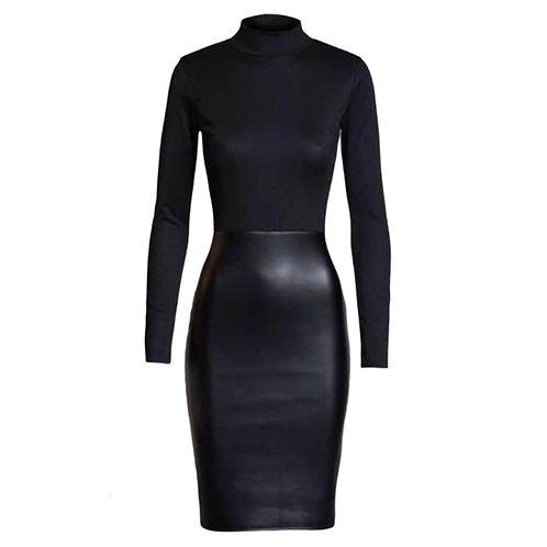 Læderlook kjole