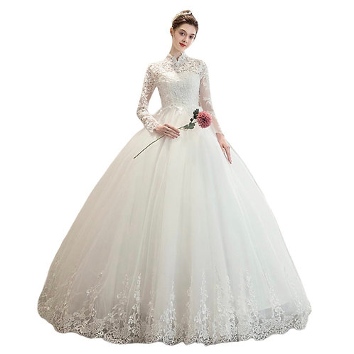 Prinsesse kjole med høj hals og ærmer D307