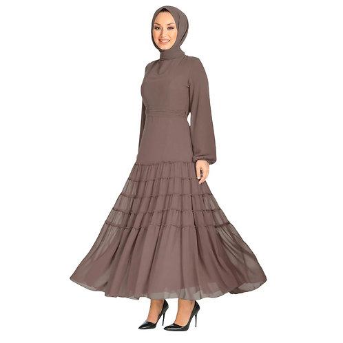 Neva Style - Ballonærmet Brun Hijab Kjole
