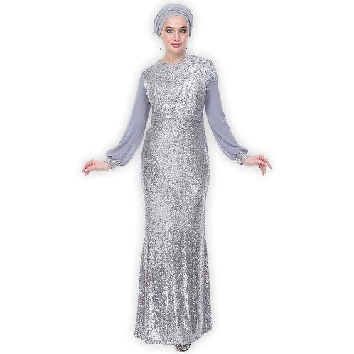 Sølv paljetteret festkjole