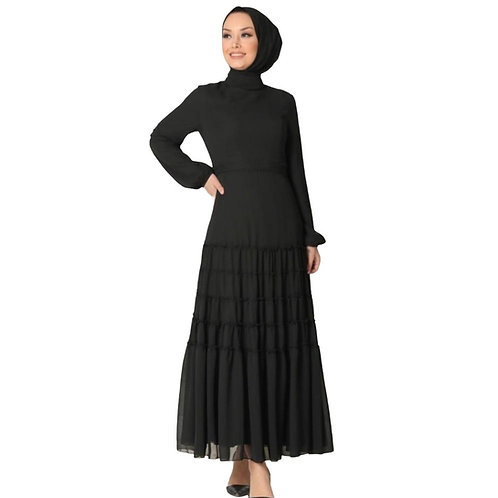 Neva Style - Ballonærmet sort Hijab Kjole