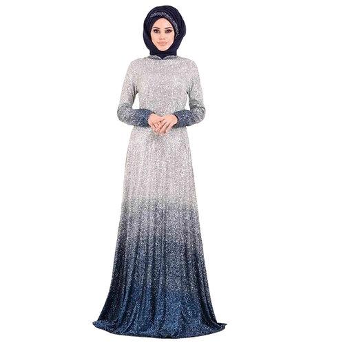Indigo sølv/m.blå festkjole