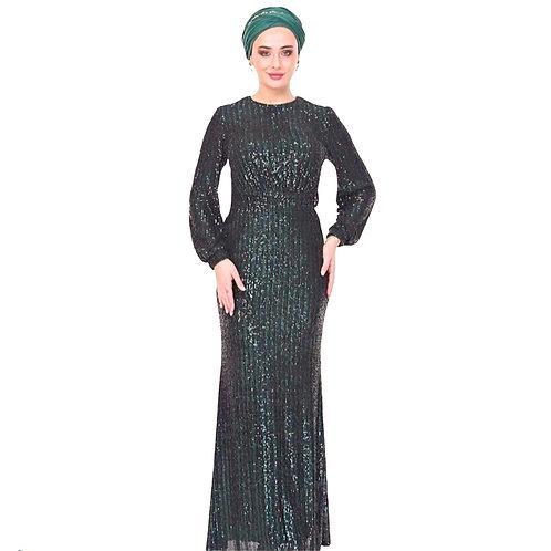MISRA  sortgrøn festkjole