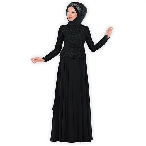 Sort Hijab aftenkjole
