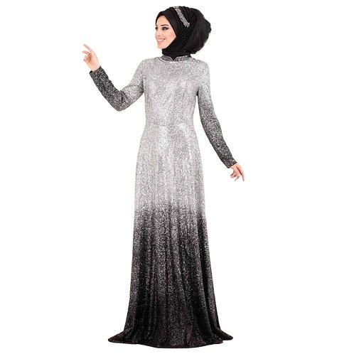 Indigo sølv/sort festkjole
