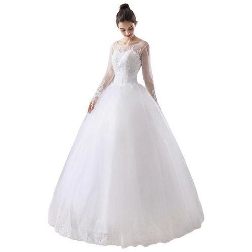 Prinsessekjole med tranparente ærmer