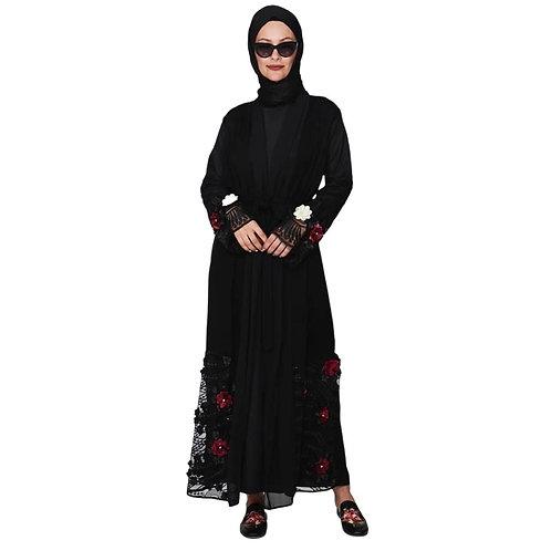 Abaya med 3d blomter