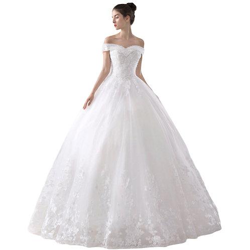 Prinsesse brudekjole med bådhals