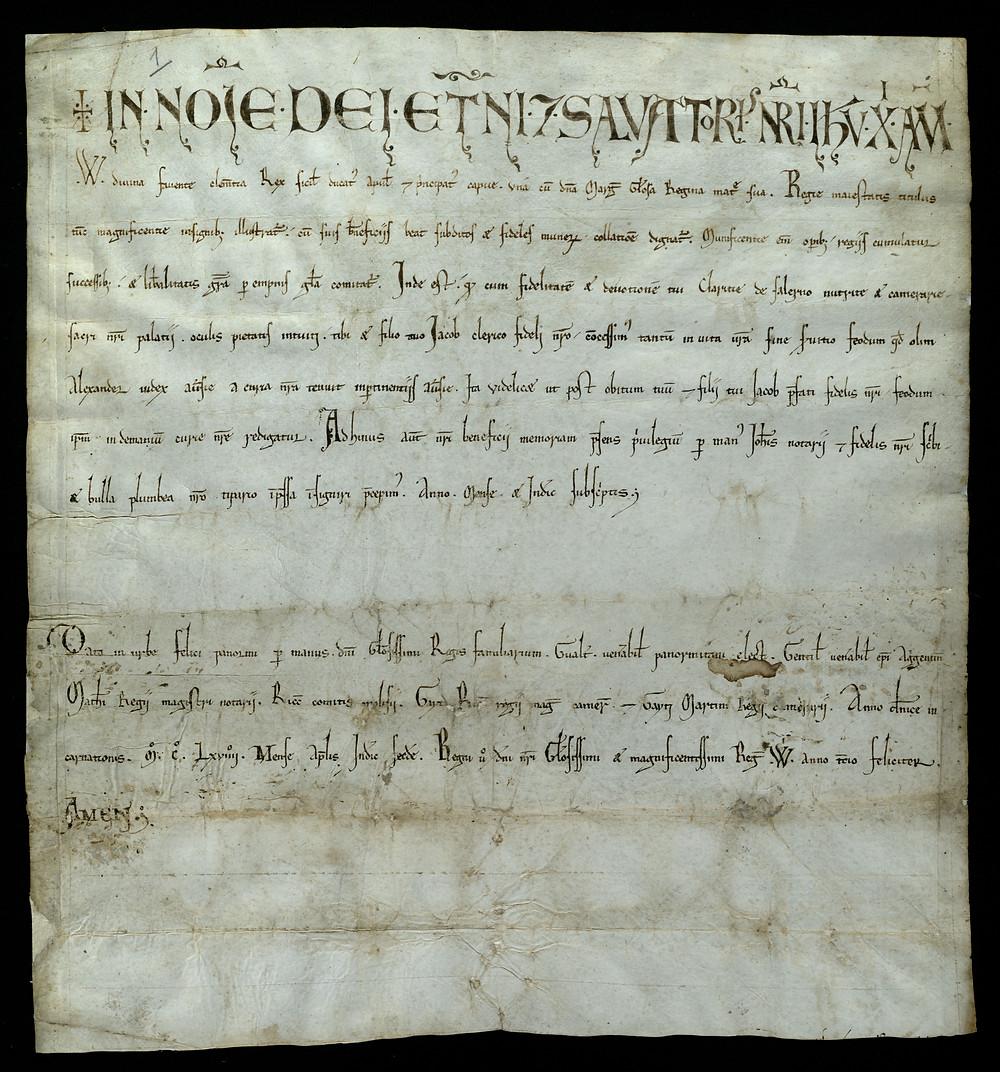 ASMM Ad/1 2 aprile 1169 Privilegio con cui il feudo di Aufia, viene trasmesso a Clarizia di Falerno ed a suo figlio Giacomo Clerico.