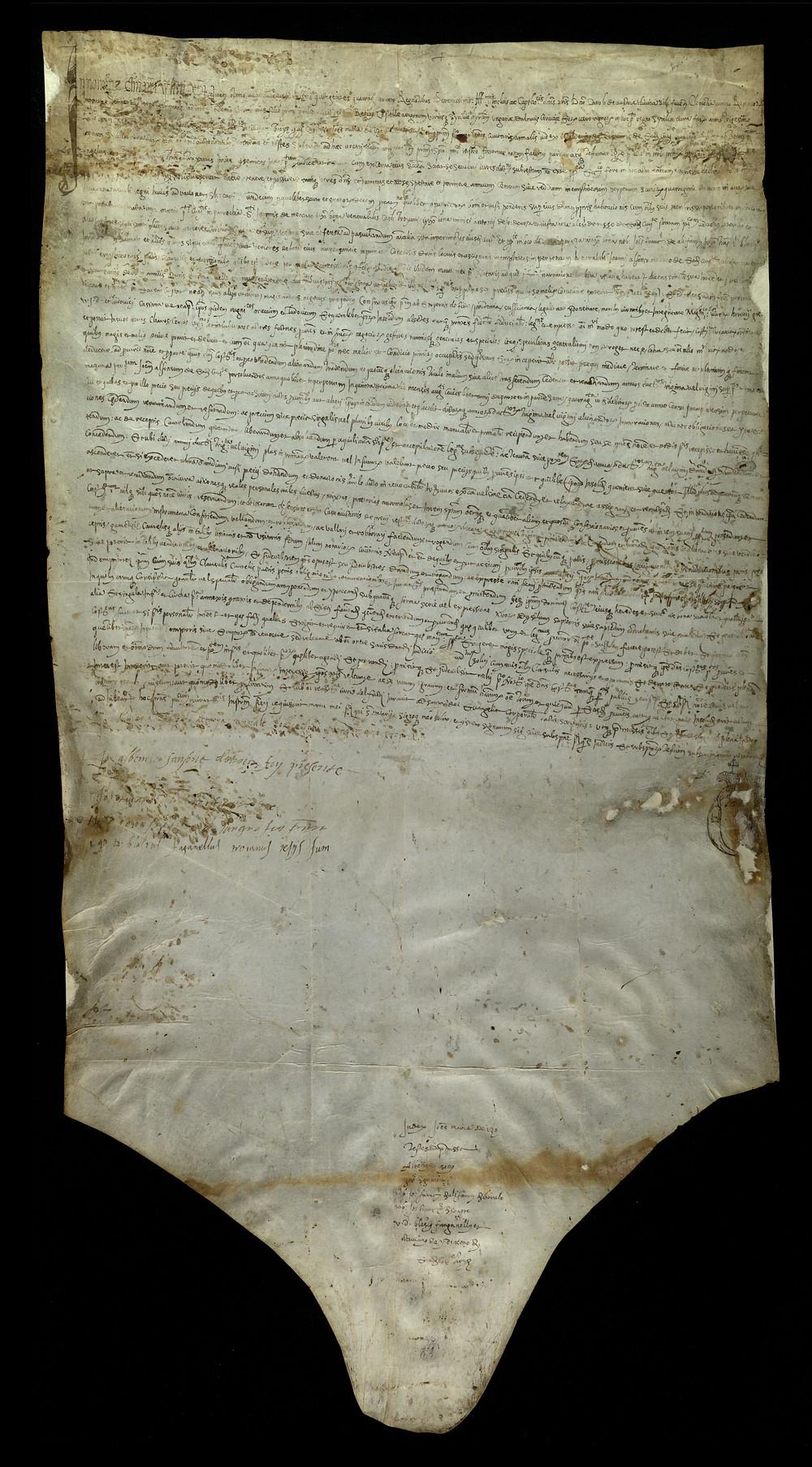 ASMM Ad/30 aprile 1545  Istrumento di procura per notar Calderio de Celderiis di Troja con cui Angelo Gardia costituisce un procuratore a poter alienare in suo nome annui ducati 30 di censo dovuto da Giov. Alfonso Melisco.