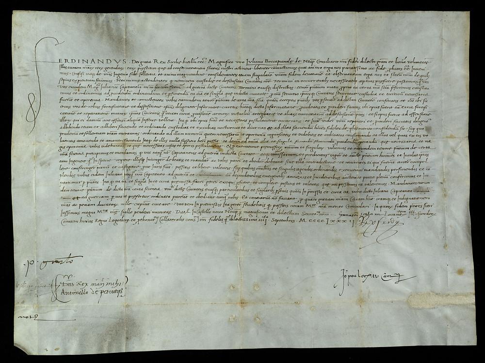 ASMM: Ad/18       4 Settembre 1482     Patente di Re Ferdinando I concessa a Giuliano Boccapianola di Capitano ossia Commissario a guerra della Città di Termini.