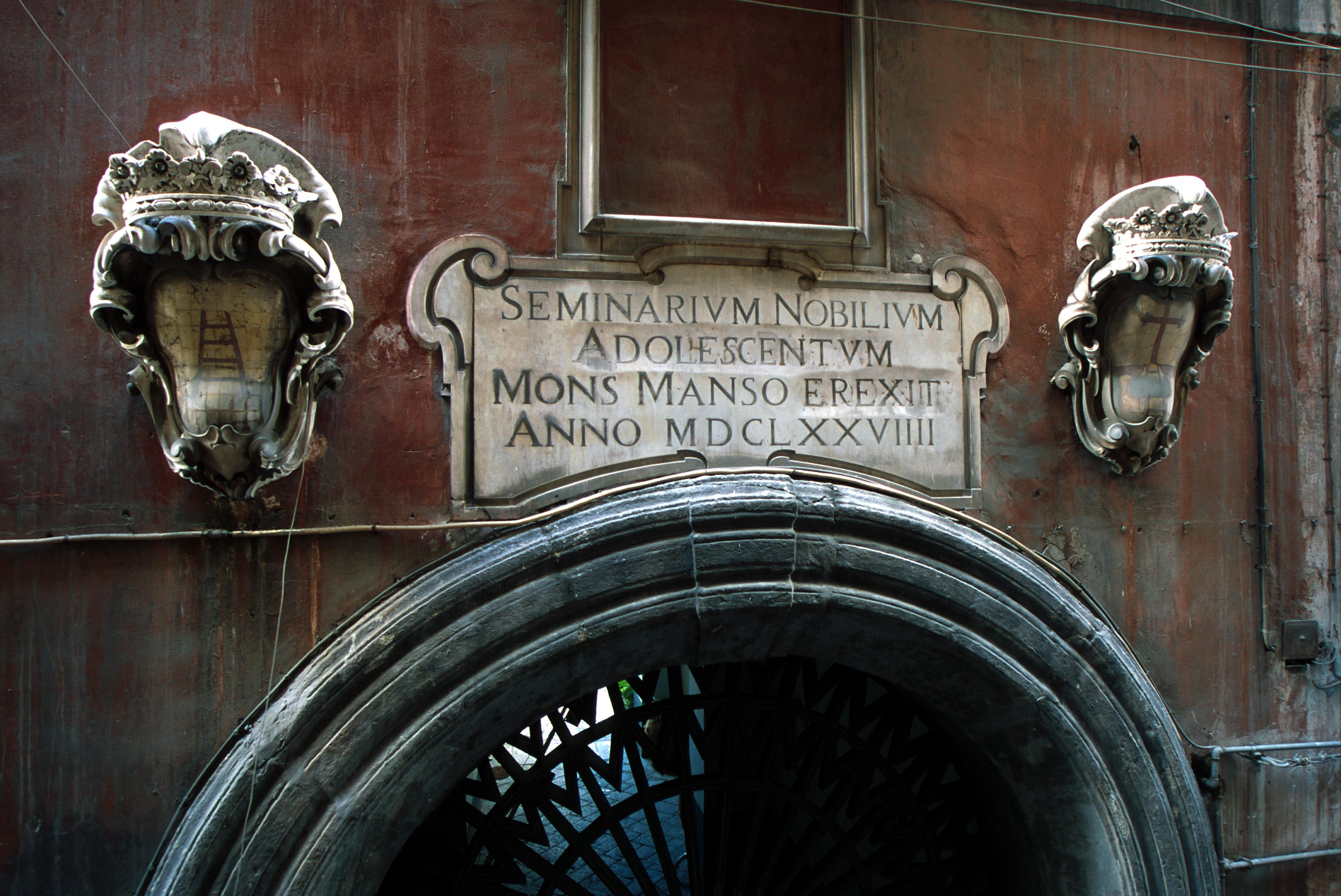 Seminario dei nobile - Lapide palazzo Manso