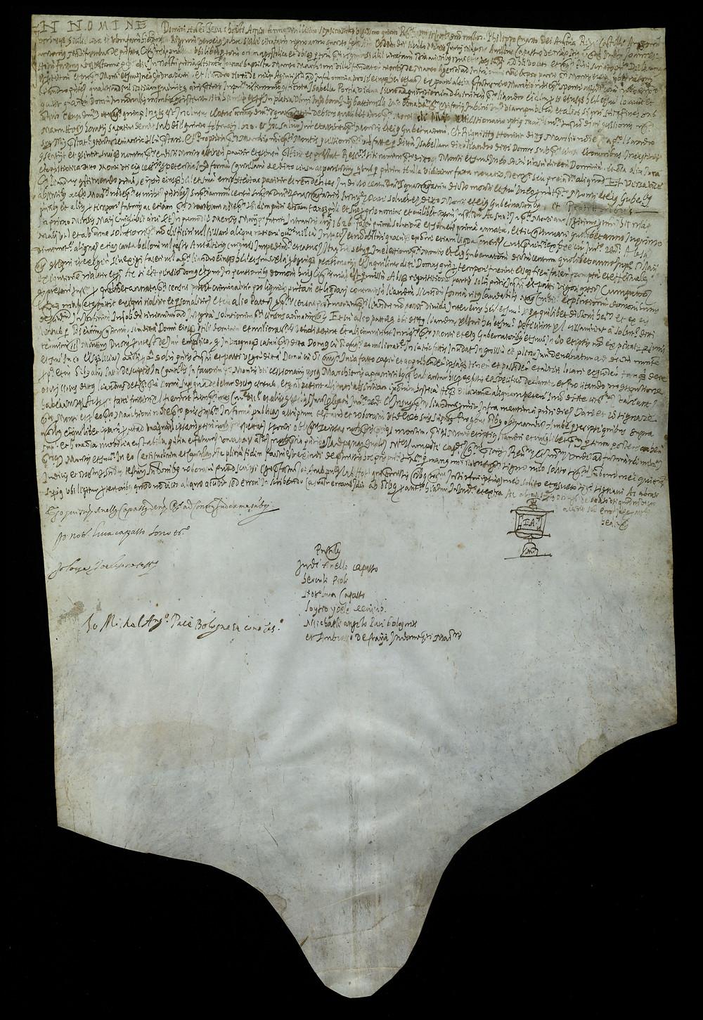 ASMM Ad/52 2 giugno 1625 Istrumento di obbligo per notar Giov. Antonio Montefusco di Napoli col quale Leandro Noni si obbliga di pagare a D. Giovan Battista Manso annui ducati 43 di censo su una casa in Napoli nella piazza dell'Olmo.